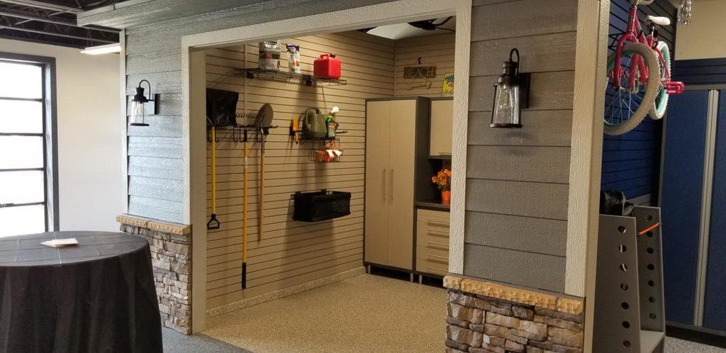 Building Combines Garage Improvement Fireplace Showrooms